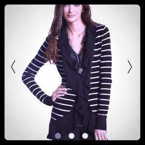 WHBM Striped Ruffle Sweater Cardigan